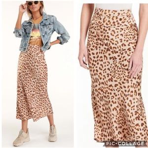 Free People Normani Animal Print Bias Midi Skirt 6
